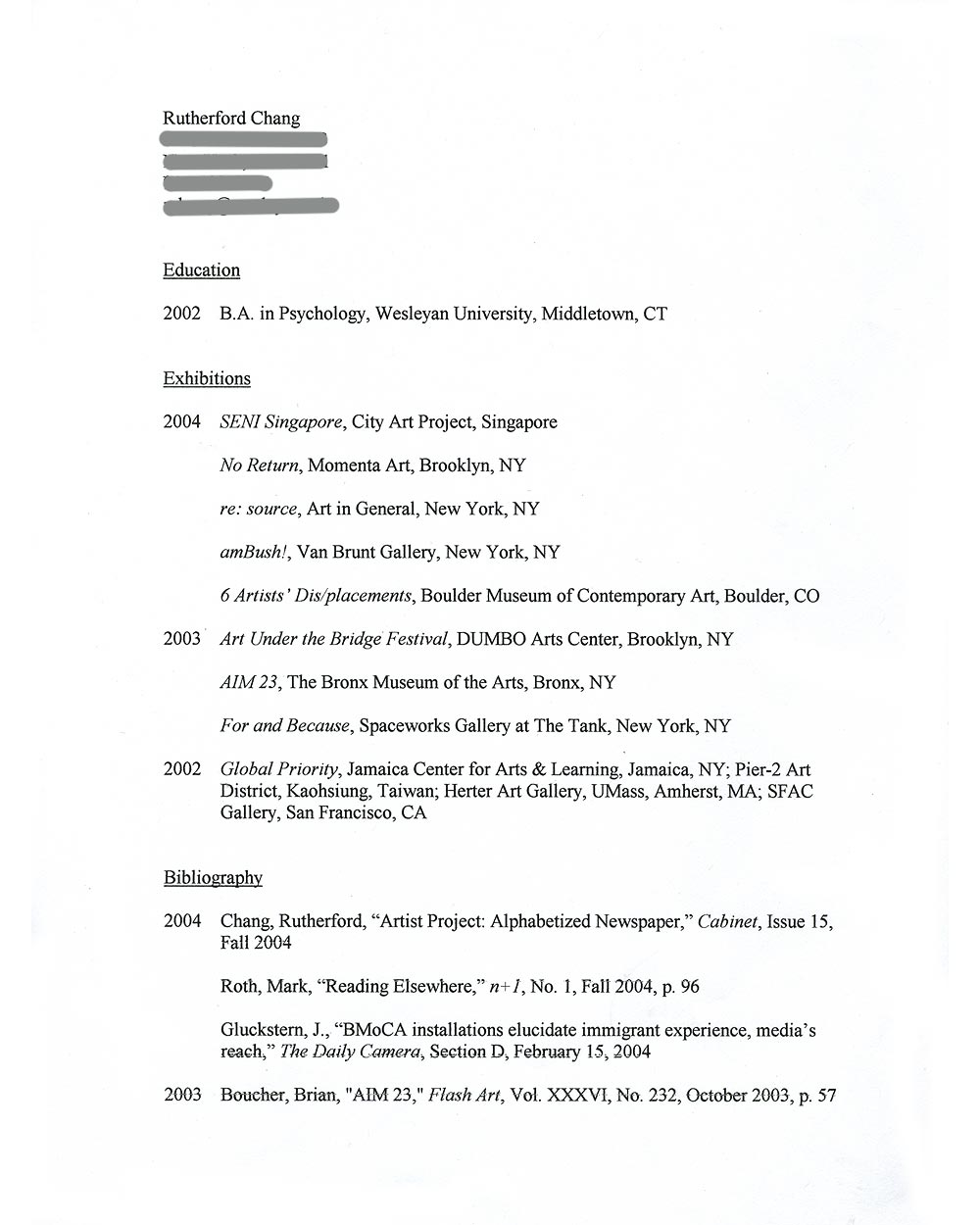Rutherford Chang's resume, pg 1
